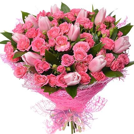 """Букет """"Чари"""" рожеві тюльпани та троянди"""
