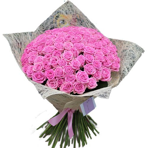"""101 рожева троянда """"Аква"""" фото букета"""