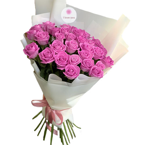 букет 33 рожеві троянди «Аква»