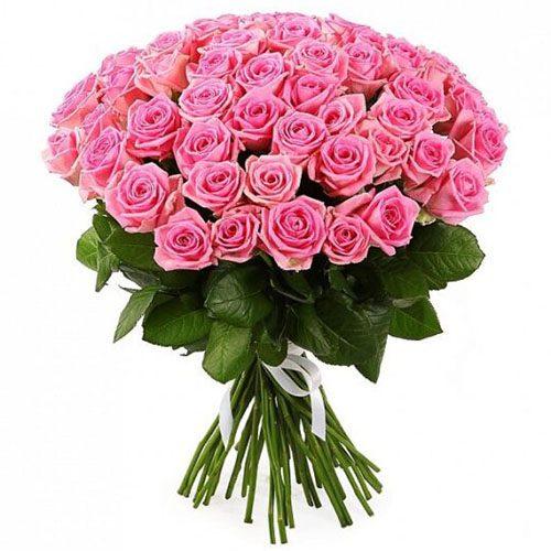 """букет 51 рожева троянда """"Аква"""" фото"""