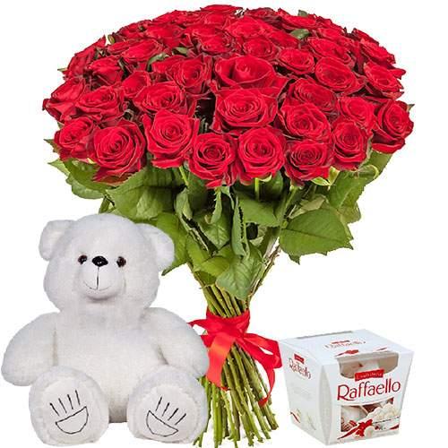 """51 троянда, ведмедик і """"Raffaello"""" фото товару"""