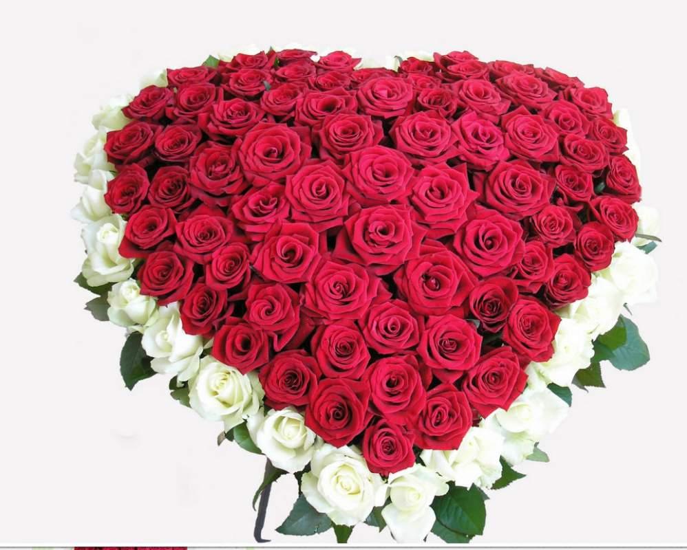 букет Серце 101 троянда біла та червона