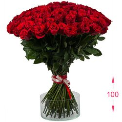 букет 101 висока троянда фото