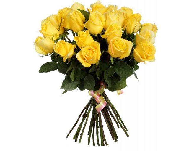букет 25 жовтих троянд фото