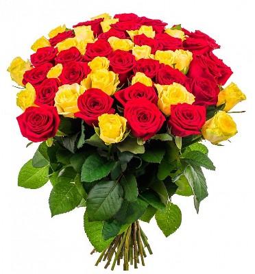 51 троянда червона і жовта