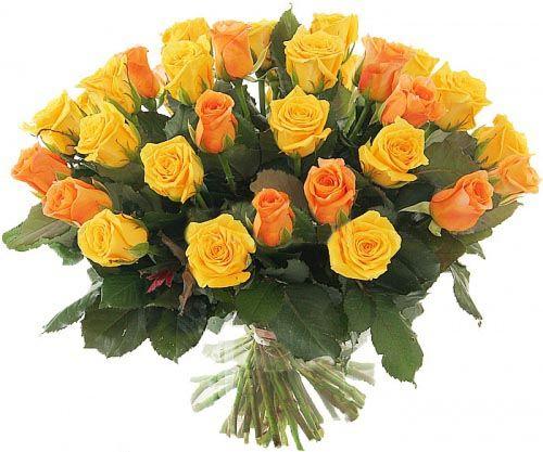 букет 51 жовта і персикова троянда фото