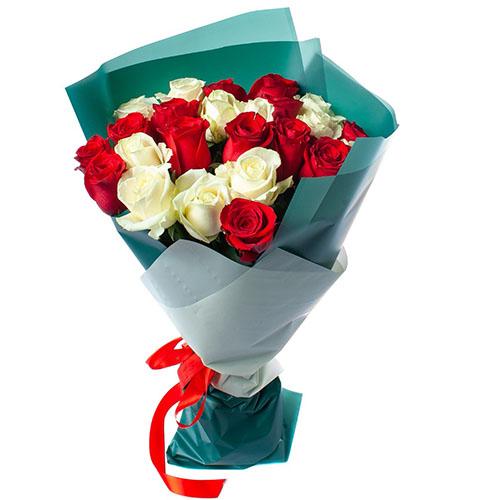 букет 25 троянд червоних і білих