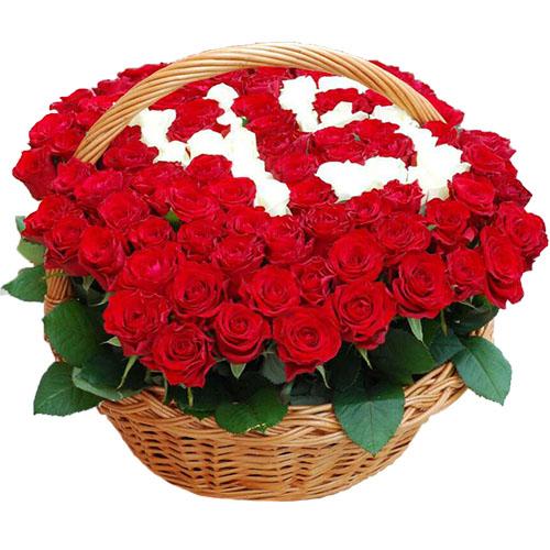 фото товару Троянди з числами в кошику