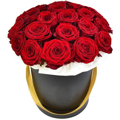 фото 21 червона троянда в капелюшній коробці