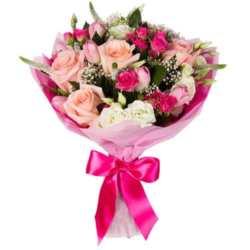 """Букет """"Блиск"""" мікс рожевих квітів"""