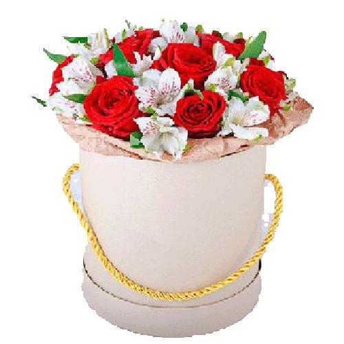 капелюшна коробка привіт троянди та альстромерії