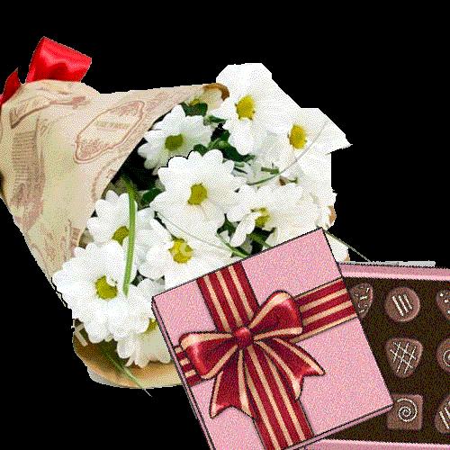 3 хризантеми з цукерками фото
