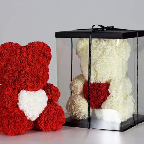Мишка з троянд фото