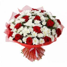 букет подаруночок троянди хризантеми