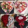 фото квіти та цукерки в коробці серце