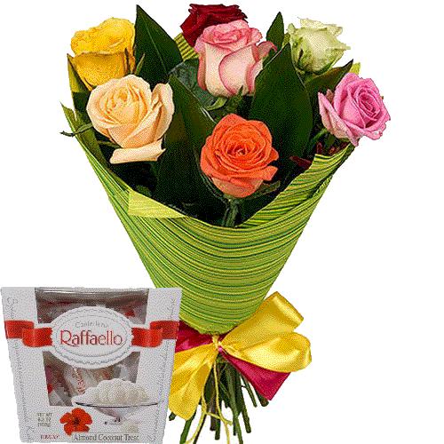 фото 7 троянд мікс із цукерками