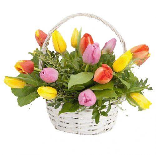 фото товару 15 тюльпанів у кошику