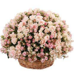 Фото товару 201 кущова троянда в кошику