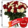 фото товару 51 троянда мікс червона та біла
