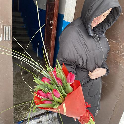 фотоотчёт доставки букет тюльпанов