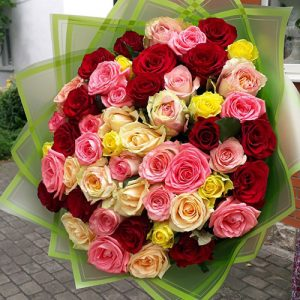 51 роза микс с доставкой в Бердянске фото